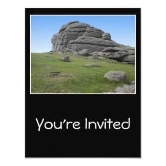 Haytor. Rocks in Devon England. On Black. 11 Cm X 14 Cm Invitation Card