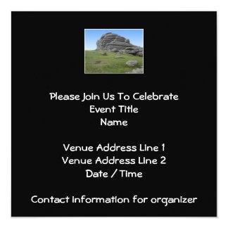 Haytor. Rocks in Devon England. On Black. 13 Cm X 13 Cm Square Invitation Card