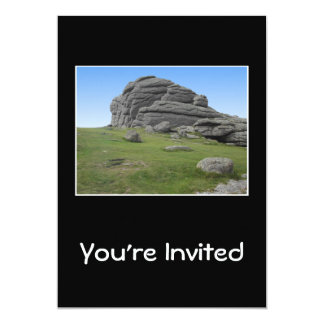 Haytor. Rocks in Devon England. On Black. 13 Cm X 18 Cm Invitation Card