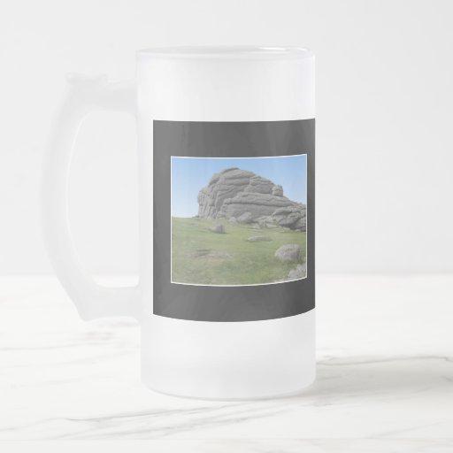 Haytor. Rocks in Devon England. On Black. Coffee Mugs