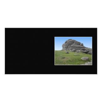 Haytor Rocks in Devon England On Black Personalized Photo Card