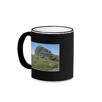 Haytor. Rocks in Devon England. On Black. Ringer Mug