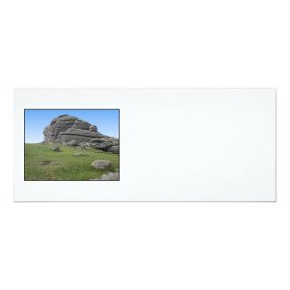 Haytor. Rocks in Devon England. On White. 10 Cm X 24 Cm Invitation Card
