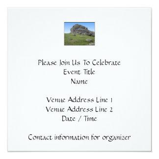 Haytor. Rocks in Devon England. On White. 13 Cm X 13 Cm Square Invitation Card