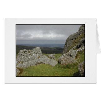 Haytor. Rocks in Devon England. On White. Card