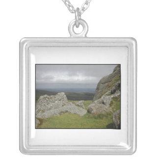 Haytor. Rocks in Devon England. On White. Silver Plated Necklace