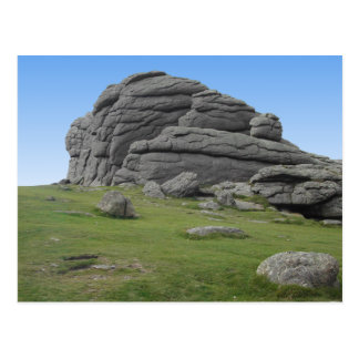 Haytor. Rocks in Devon England. Postcard