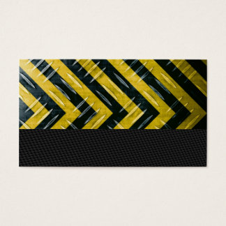 Hazard Stripe Diamond Plate Textured Business Card