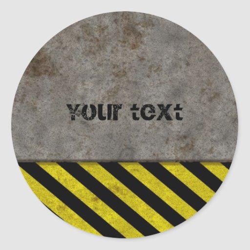 Hazard Stripes Design Round Sticker