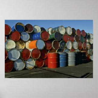 Hazardous waste barrels poster