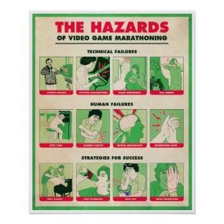 HAZARDS OF VIDEO GAME MARATHONING Poster