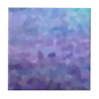 Hazed and Phased Purple Painting Small Square Tile