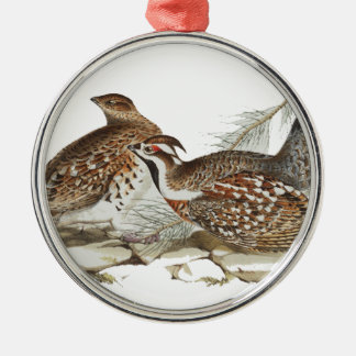 Hazel Grouse Silver-Colored Round Decoration