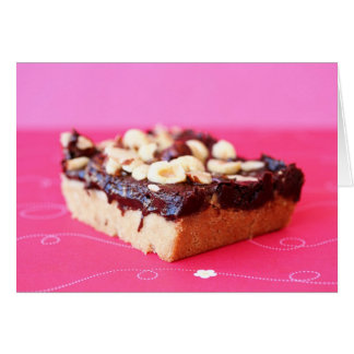 Hazelnut and chocolate caramel bars note card