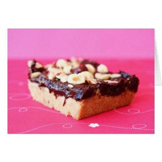Hazelnut and chocolate caramel bars note card