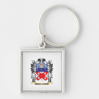 Hazelwood Coat of Arms - Family Crest Silver-Colored Square Key Ring