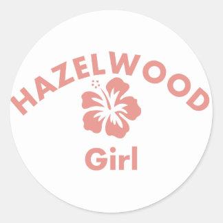 Hazelwood Pink Girl Round Sticker