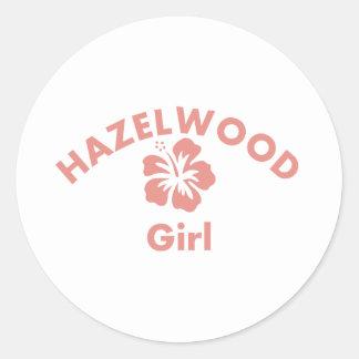Hazelwood Pink Girl Round Stickers