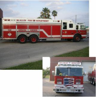 HazMat Rescue Fire Truck Standing Photo Sculpture