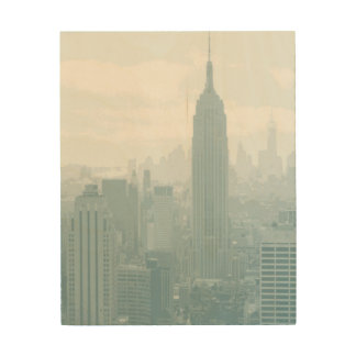Hazy Blue New York City Skyline Wood Wall Decor
