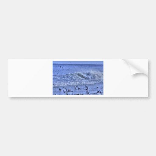 HDR Body Surfer Seagulls Beach Waves Crashing Bumper Sticker