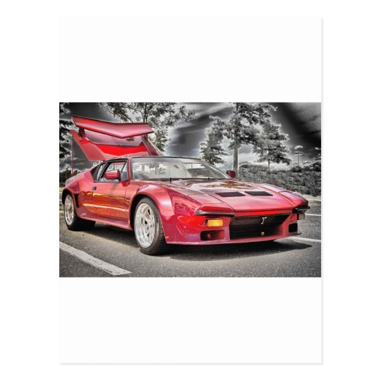 HDR Exotic Sports Car Classic Black White Effect Postcard