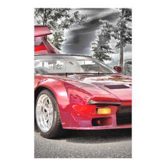 HDR Exotic Sports Car Classic Black White Effect Personalized Stationery