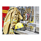 HDR Fireman Gear and Fire Truck Postcard