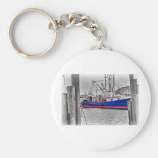 HDR Fishing Boat Black White Color Effect Harbor Key Chain