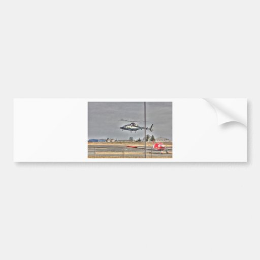 HDR Helicopter Red Plane Landing Bumper Stickers