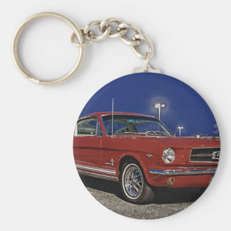 HDR Mustang Fastback Muscle Classic Car Basic Round Button Key Ring