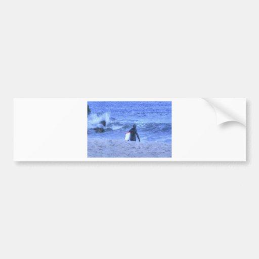 HDR Surfer Holding Body Board Bumper Sticker