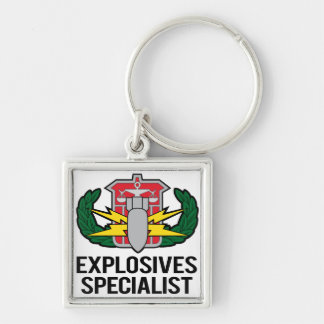 HDS Explosives Specialist Silver-Colored Square Key Ring