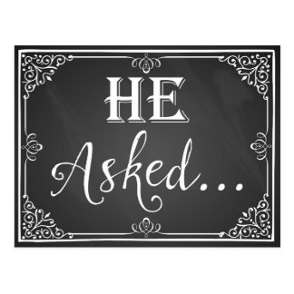 """He asked"" Engagement Card photo prop chalkboard Postcard"