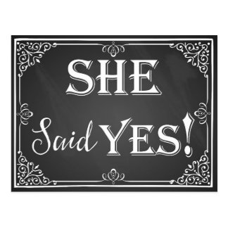 "He asked she said ""Yes"" engagement card photo prop Postcard"