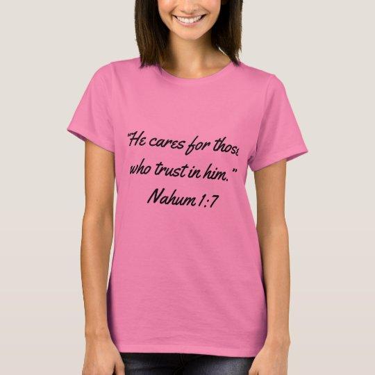 """He Cares"" Women's Scripture T T-Shirt"