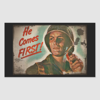 He Comes First WWII Food Rationing Rectangular Sticker