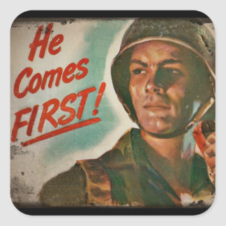 He Comes First WWII Food Rationing Square Sticker