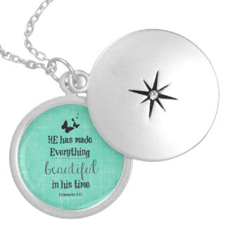 He has made everything beautiful bible verse round locket necklace