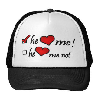 He Heart Me With Check Mark In Box Hearts Trucker Hat