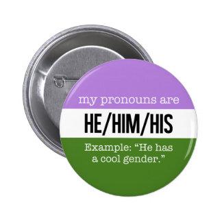 He/Him Pronouns – Genderqueer Flag 6 Cm Round Badge