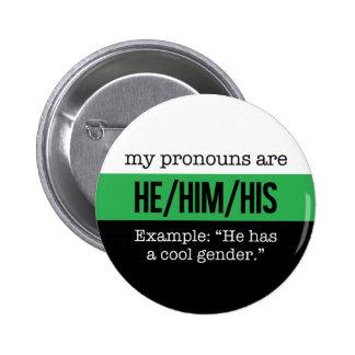 He/Him Pronouns –Neutrois Flag 6 Cm Round Badge