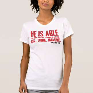 He Is Able Christian Bible T Shirt - Red and Black
