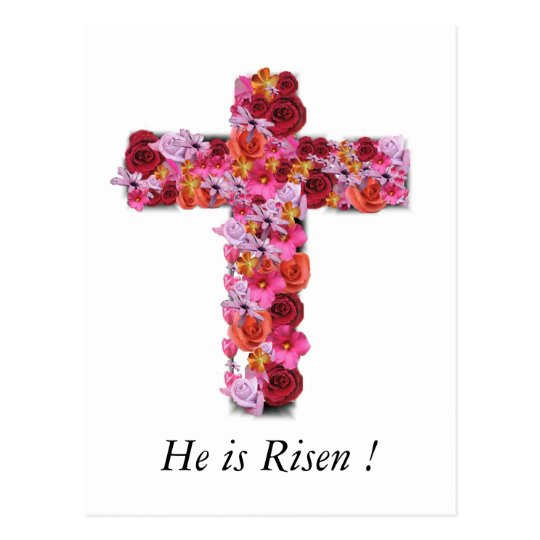 He is Risen Christian Easter Greeting Floral Cross