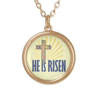 He is RISEN on Easter Round Pendant Necklace