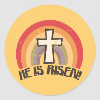 Religious easter gifts t shirts art posters other gift ideas he is risen religious easter classic round sticker negle Image collections