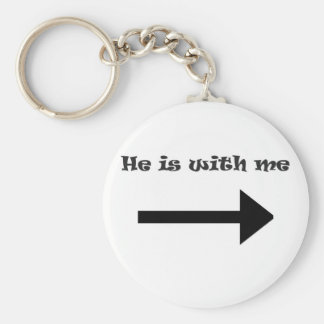 He is with me basic round button key ring
