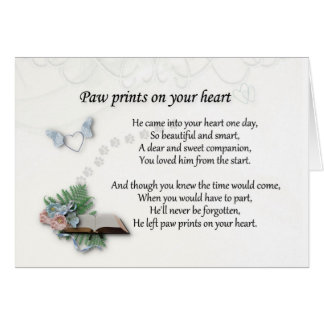 He left pawprints on heart Pet memorial sympathy Card