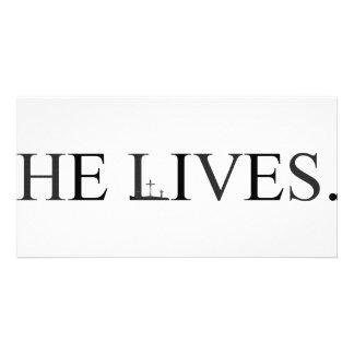 He Lives Custom Photo Card