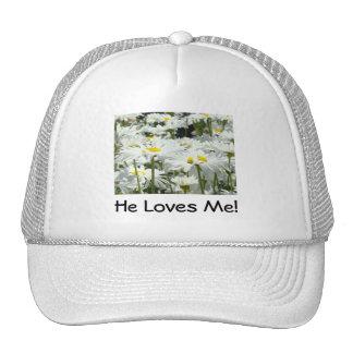 He Loves Me Hats Bride Bridal Love Daisies